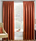 PAIRS OF COPPER ORANGE BLOCK OUT THERMAL SOFT TOUCH TEXTURED  TAPE TOP CURTAINS